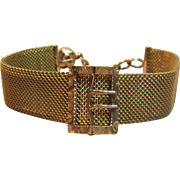 Elegant Antique Mesh Bracelet with Buckle Motif Circa 1890's