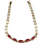 Fabulous Natural Ruby Diamond Bracelet in 10K Yellow Gold