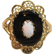 Classic Onyx and Opal Ring in 10K Yellow Gold