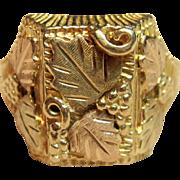 Men's Black Hills Gold Ring in 10K Tri-tone Gold