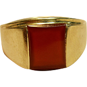 Incredible men's Carnelian Ring in 14K Yellow Gold