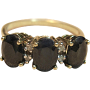 Vintage 3 Stone Sapphire with Diamond Accents Ring in 10K Yellow Gold