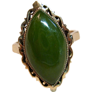 Eye-Catching Vintage Jade Ring in 10K Yellow Gold