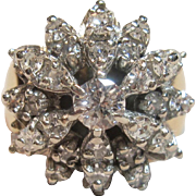 Impressive Vintage Cluster Diamond Ring 10K Two Tone Gold