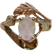 Pretty Bypass Design Black Hills Gold Ring with Opal in 10K Gold