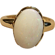 Dramatic Natural Cabochon Opal Ring in 14K Yellow Gold