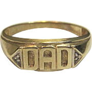 "Men's Diamond ""DAD"" Ring in 10K Yellow Gold."