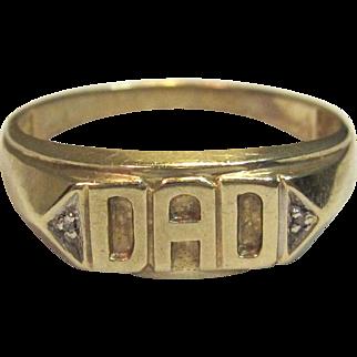 """Men's Diamond """"DAD"""" Ring in 10K Yellow Gold."""