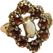 Very Intriguing Opal & Garnet Ring in 10K Yellow Gold with Patina