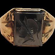 Vintage Roman Soldier Intaglio Ring in 10K Yellow Gold