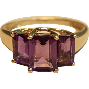 Radiant Amethyst Ring in 10K Yellow Gold