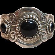 Remarkable Large Black Onyx Cuff Bracelet in Sterling Silver