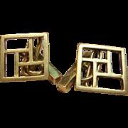 Elegant Geometric Cufflinks in Solid 18K Yellow Gold