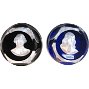 Vintage Baccarat Franklin Mint Bicentennial Cameo Crystal Paperweights with Original Velvet Box Circa 1975.