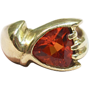Phenomenal Mexican Fire Opal Ring in 10K Yellow Gold