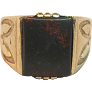 Impressive Vintage Bloodstone Ring In 10K Yellow Gold