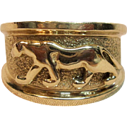 Phenomenal 3D Panther Dome Ring in 14K Yellow Gold
