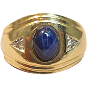 Vintage Star Sapphire Ring with Diamond Accents in Solid 10K Yellow Gold
