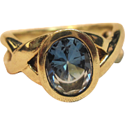 Dazzling & Sturdy Blue London Topaz Ring in 14K Yellow Gold