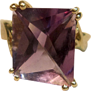 Enchanting Fantasy Cut Amethyst Ring in 14K Yellow Gold
