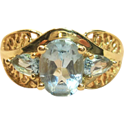 Ravishing Blue Topaz Ring in Solid 14K Yellow Gold