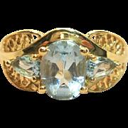 Ravishing Blue Topaz Ring in Solid 14K Yellow Gold
