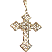 Charming Filigree Openwork Cross in Solid 14K Yellow Gold