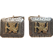 Exceptional Peruvian Inca Cufflinks In Sterling Silve & 18K Yellow Gold