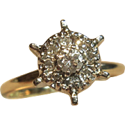 Vintage Starburst Diamond Ring in 14K Two-Tone Solid Gold