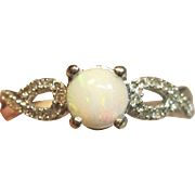 Delightful Opal Ring With Diamonds in 10K White Gold