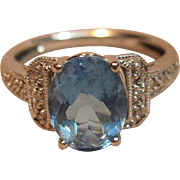 Amazing Blue Topaz Ring with Diamond Accents in 14K White Gold