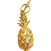 Delightful 3D Pineapple Charm/Pendant in 14K Yellow Gold with Hawaii Tag
