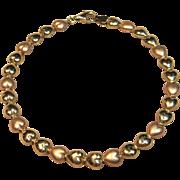 Sweet Rose Gold & Yellow Gold 3D Heart Link Bracelet in 10K Gold