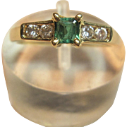 Sensation Genuine Emerald & Diamond Ring in 18K Yellow Gold