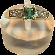 Sensation Genuine Emerald & Diamond Ring in 18K Yellow Gold