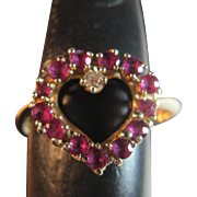 14KT Heart Shaped Natural Ruby and Diamond Ring