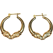 Charming Ram's Head Hoop Earrings in 14K Yellow Gold