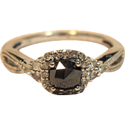 Fancy Black Diamond Engagement Ring in 10K White Gold