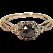 Fancy Black Diamond Engagement Ring in 10K White Gold