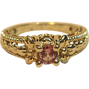 Lovely Pink Ice Ring with Intricate Details in 14K Yellow Gold