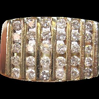 Vintage Men's Channel Set Diamond Ring in 10K Yellow Gold