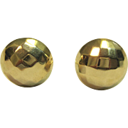 Vintage Button Style Clip on Earrings in Solid 14K Yellow Gold
