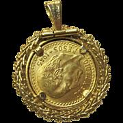 Vintage 1945 Dos y Medio Pesos Solid Gold Coin Pendant