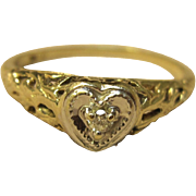 Vintage Filigree Diamond Heart Ring in 10K Two Tone Gold