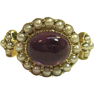 Spectacular Vintage Cabochon Amethyst Ring with Seed Pearls in Solid 14K Yellow Gold