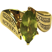 Beautiful Peridot & Diamond Ring in 10K Yellow Gold
