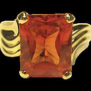Stunning Padparadscha Sapphire Ring in 10K Yellow Gold