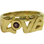 Sturdy LOVE Script Ring with Amethyst in 14K Yellow Gold