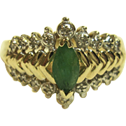 Fascinating Natural Emerald Ring in 10K Yellow Gold