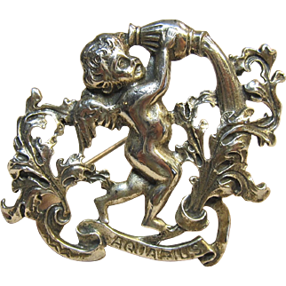 Repoussé Aquarius Brooch Sterling Silver by Cini Circa 1940's